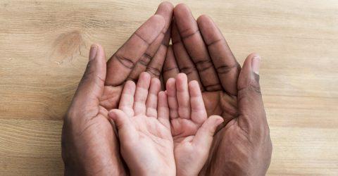 mains d'adultes et d'enfants